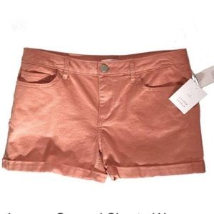 Peach Denim Rolled Cuff Shorts